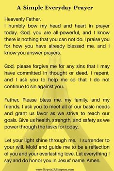 A simple everyday prayer written based on all of the components of the Lord's Prayer. Start your day praying like Jesus taught in the Lord's Prayer. Good Prayers, Simple Prayers, Prayers For Strength, Special Prayers, Prayers For Healing, Catholic Prayers Daily, Funny Prayers, Healing Prayer, Miracle Prayer