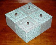 Quadri-boîte turquoise et grise : Boîtes, coffrets par a-chacun-sa-boite