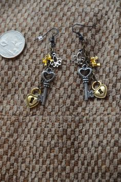Key and Lock Dangle Earring by LightningBugBoutique on Etsy