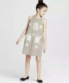 bbeebb1a3c24f Victoria Beckham Target Girls Sage Green High Neck Floral Appliqué Dress XL   fashion  clothing