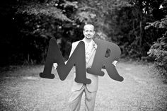 """a creative way to announce the title """"Mr."""" to a groom is wedding photos - thereddirtbride.com - see more of this wedding here Initial Decor, Hunting Wedding, Wedding Photos, Groom, Future, Boys, Creative, Outdoor, Marriage Pictures"""