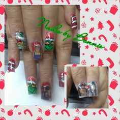 Mr Grinch Nail Art and.Photo Art insert picture in Acrylics nails