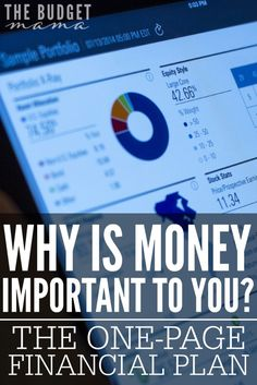 Why is money important to you? This is question that we all should ask before developing our one-page financial plan. After all, if we don't know why money matters to us, how can we plan to use it?