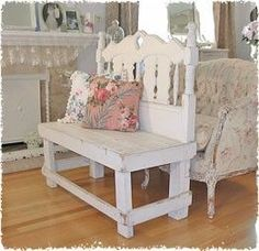 shaby chic bench from headboard