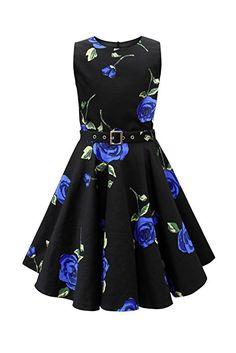 Black Butterfly Kids 'Audrey' Vintage Infinity 50's Dress (Large Blue Roses, 11-12 YRS)