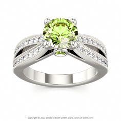 Peridot Engagement Ring in White Gold #peridot #engagement #ring