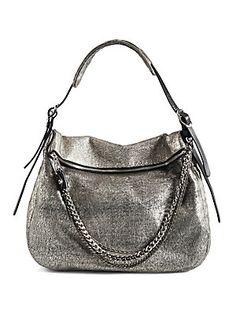 Jimmy Choo Boho Cracked Metallic Leather Hobo Bag