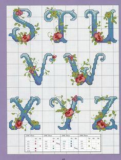 Floral cross stitch alphabet S-Z Cross Stitch Alphabet Patterns, Embroidery Alphabet, Cross Stitch Letters, Cross Stitch Rose, Cross Stitch Samplers, Embroidery Fonts, Cross Stitch Charts, Cross Stitching, Cross Stitch Embroidery