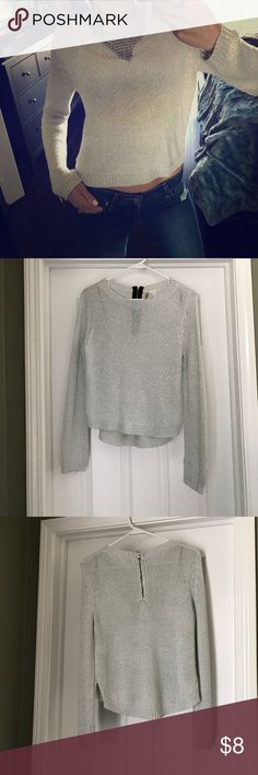 Silver sparkly sweater Fun silver sparkly sweater with back zipper at the neck. The front is a litter shorter than the back, so you can show a little peek-a-boo tummy if you want an extra fun look. Worn twice, in good condition. A couple of minor snags as shown in the picture, those these are not really noticeable. Size 4, fits as small. Divided Sweaters Crew & Scoop Necks