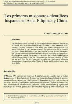 """Leticia Mayer Celis, """"Los primeros misioneros-científicos hispanos en Asia: Filipinas y China"""". Vol. 16..."""