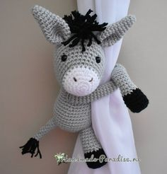 Knitted donkey - pick up for curtains in the nursery Pick Up, Free Crochet, Knit Crochet, Amigurumi Toys, Crochet Dolls, Donkey, Doll Toys, Free Pattern, Hello Kitty