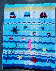Vintage Sea Blanket Crochet Ocean Blanket Sea creatures