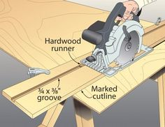 Circular Saw Guide by Lonnie Holbrook -- Homemade circular saw guide constructed from MDF. Saw is retrofitted with a hardwood runner to track along the grooved base. http://www.homemadetools.net/homemade-circular-saw-guide-2