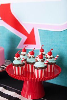 Cupcakes from a Retro Soda Shoppe Birthday Party via Kara's Party Ideas - The… Birthday Cupcakes For Women, Birthday Themes For Adults, 13 Birthday Cake, Birthday Gifts For Teens, Birthday Cake Decorating, Dragon Birthday, Retro Birthday Parties, Adult Birthday Party, Retro Party