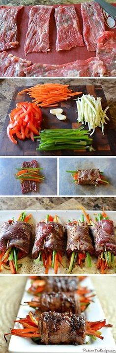 Balsamic glazed steak rolls filled with vegetables. You could do this with chicken, too. Can be modifed for paleo!
