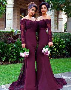 Mermaid Off Shoulder Long Sleeves Lace Deep Burgundy Bridesmaid Dress
