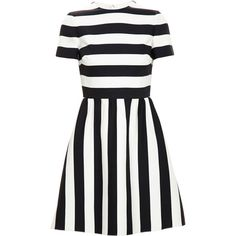 Valentino Striped Dress ($3,290) ❤ liked on Polyvore featuring dresses, valentino, vestidos, stripe dress, striped dress, white striped dress, mixed print dress and pattern dress