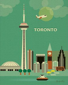 Toronto, Canada Skyline - Transportation Poster for Home, Work and Nursery from loosepetals http://www.etsy.com/shop/loosepetals