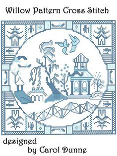 Willow Pattern cross stitch on Craftsuprint designed by Carol Dunne - A traditional design of the Willow Pattern in 3 shades of blue. It does have half stitches and backstitch in so it is more for the experienced cross stitcher. The kit also has an A4 size sheet to follow and a much bigger design sheet so you can see it easier. On 14 count Aida the size will be approx 20cm x 20cm - Now available for download!
