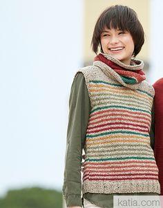 Book Woman Essentials 12 Autumn / Winter   50: Woman Vest   Beige / Fir green / Pistachio / Ochre  / Bright red orange / Maroon