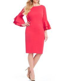 d68a7d88fa1 Calvin Klein Plus Size Tiered Bell Sleeve Sheath Dress