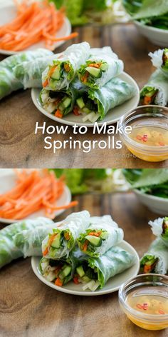 Vegetarian Recipes, Cooking Recipes, Healthy Recipes, Healthy Spring Rolls, Easy Spring Rolls, Thai Spring Rolls, Veggie Spring Rolls, Shrimp Spring Rolls, Chicken Spring Rolls