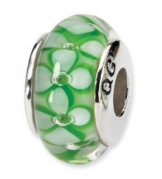 925 Silver Hand Blown Glass Green Floral Jewelry Bead ** You can find out more details at the link of the image.