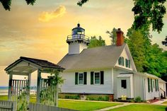 Lighthouse Art, Michigan, Shed, Outdoor Structures, Cabin, Lighthouses, House Styles, Buildings, Home Decor