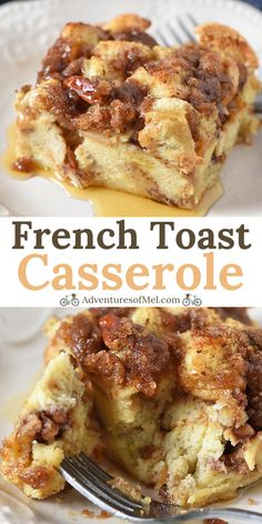 How to make a deliciously easy French toast casserole, a make ahead recipe that's perfect for a crowd and makes a quick breakfast on busy mornings. #adventuresofmel #Frenchtoast #casserole #breakfast #brunchrecipes #easyrecipes