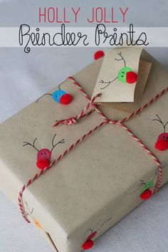 This adorable wrapping is so easy to create—dip your fingers into different colored paints and stamp them on your paper before adding pompoms as noses. Get the tutorial at Splash of Something.