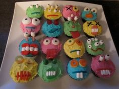 Monster Cupcakes Birthday Wishes, Birthday Parties, Birthday Ideas, Mini Monster, Monster Cupcakes, Sweets, Monsters, Room Mom, Desserts