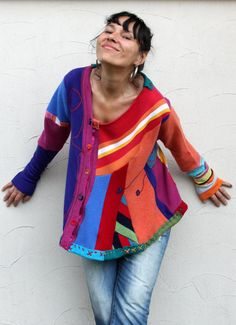 RESERVED FOR KAHLIA  recycled patchowrk sweater  by jamfashion, $78.00