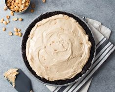 This giant, sophisticated take on a peanut butter cup has peanut butter mousse, studded with roasted, salted peanuts and a chocolate cookie crust.
