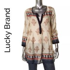 Lucky Brand Bohemian Tunic Since 1999 Lucky Brand has been making great looking Vintage Items, they stay true to the rich heritage of the all American spirit...this 3/4 tunic in a tan- multi pattern in 100% rayon is the perfect bohemian style Lucky Brand Tops Tunics