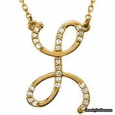 14k Yellow Gold Lovely L Initial Diamond Necklace #Diamond Necklace #fashion #style #shopping - Fashion Jewelry - http://ijewelryfashion.com/14k-yellow-gold-lovely-l-initial-diamond-necklace