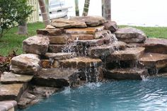 Home Pools With A Waterfall | Swimming Pool Waterfall Photo Gallery by Hartsell Pool Renovations of ...