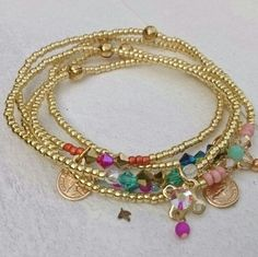 Gold coloured beads