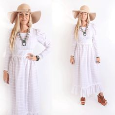 Vintage 60s Sheer White Poet Sleeve Wedding Maxi Dress Boho Hippie www.voodoocouturevintage.com