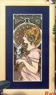 """Borduurpatroon Kruissteek Mucha *Embroidery Cross Stitch Pattern ~""""Feather"""": klik op knop """"Bezoeken"""" voor de 14 patronen~"""