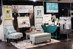 rug, colored frames and colored furniture-Wedding Expo