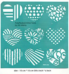 "Stencil Stencils Pattern Template ""Hearts"" 6 inch/15 cm, reusable, adhesive, flexible, for polymer clay, fabric, wood, glass, card…"