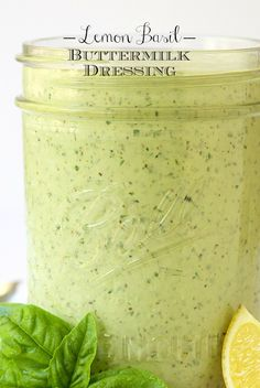 Lemon Basil Buttermilk Dressing - a thousand times better than boring ranch, this dressing is the perfect way to add pizzaz to salads. It's also great drizzled on chicken, fish, shrimp, etc and great on baked potatoes, french fries, veggies...