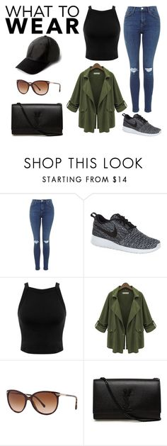 """""""Untitled #366"""" by mary-zacharia ❤ liked on Polyvore featuring NIKE, Miss Selfridge, Burberry, Yves Saint Laurent and MANGO"""
