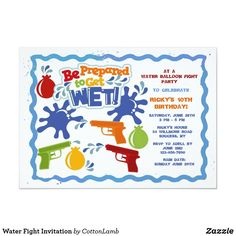Water Fight Invitation