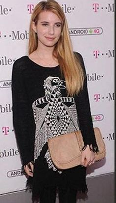 Who made Emma Roberts' bird black print dress? Dress – Lauren Moshi