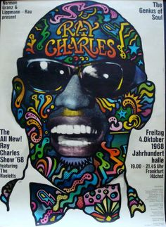 RAY CHARLES German Concert Poster (1968) - Gunther Kieser's JAZZ/SOUL/GOSPEL and BLUES Concert Posters (Part 3) When it comes to Blues...