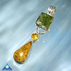 Natural Moldavite Citrine & Baltic Amber by ArkadianCollection