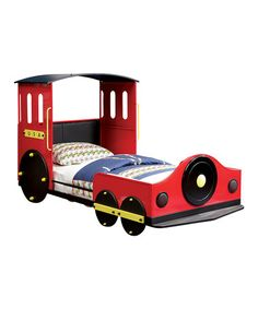 Oh my word!  My James would LOVE this Red & Black Train Youth Bed on #zulily! #zulilyfinds