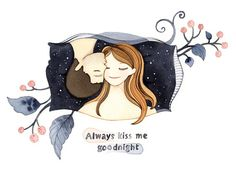 Always kiss me goodnight  quote watercolor print by joojoo on Etsy