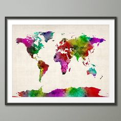 Watercolor world map download colorful large wall art decor pink world map watercolour art print gumiabroncs Images